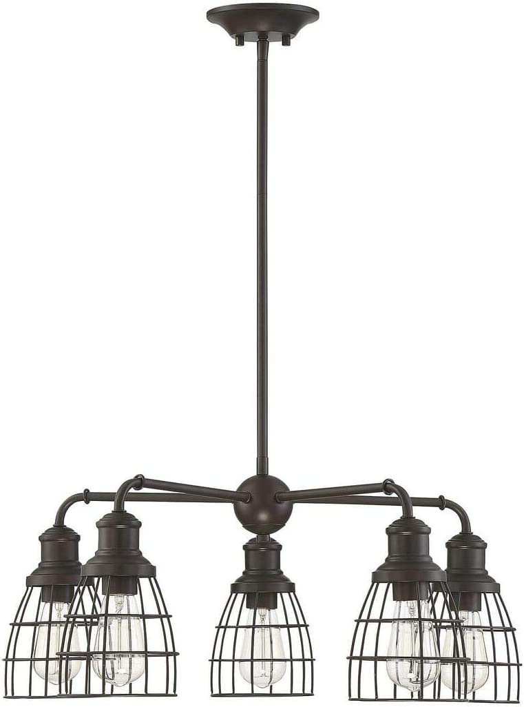 60 Watts Trade Winds Lighting TW10053ORB 5 Light Vintage Industrial Hanging Cage Pendant Chandelier with Metal Wire Shades in Oil Rubbed Bronze