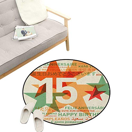 15th Birthday Custom Round Carpet ,Retro Style Backdrop Fifteen Years Old Global World Languages Multilingual, Dorm Room Bedroom Home Decorative 47