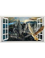 Chicbanners Harry Potter Zweinstein Kasteel Hedwig Uil 3D Magisch Venster V444 Muursticker Zelfklevende Poster Muur Art Maat 1000mm breed x 600mm diep (groot)