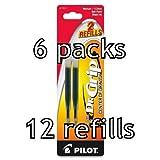 Value Pack of 6 - Pilot Dr. Grip Center of Gravity Ballpoint Ink Refill, 12 total refills, Medium Point, Black Ink (77271)