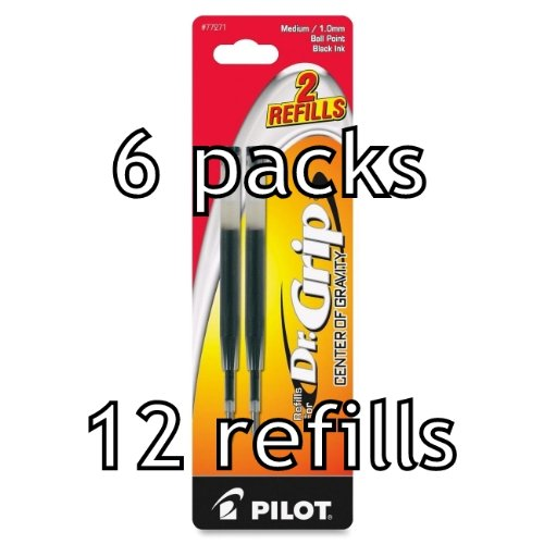 Pilot Ballpoint Refill (Value Pack of 6 - Pilot Dr. Grip Center of Gravity Ballpoint Ink Refill, 12 total refills, Medium Point, Black Ink (77271))