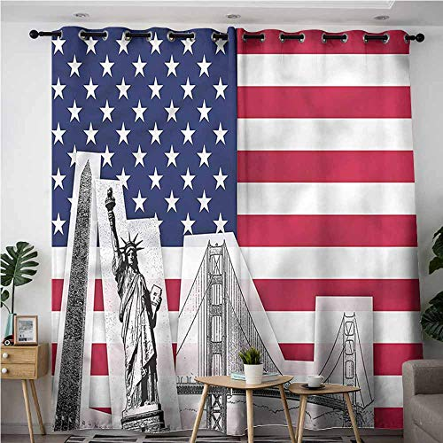 (Simple Curtains,American,Golden Gate Bridge Statue,for Bedroom Grommet Drapes,W120x96L)