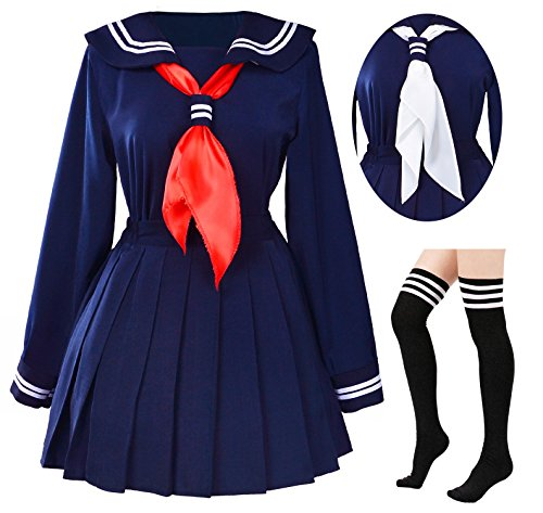 Classic Japanese School Girls Sailor Dress Shirts Uniform