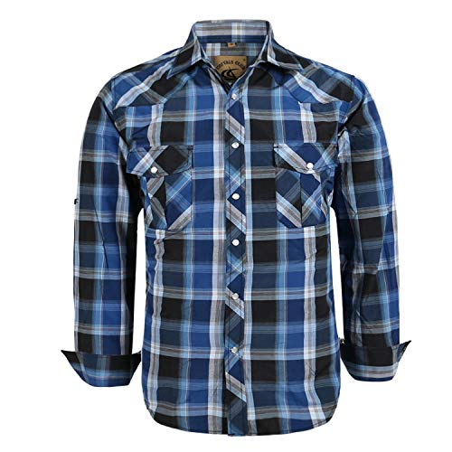 Coevals Club Men's Button Down Plaid Long Sleeve Work Casual Shirt (Bule Black #4 L)
