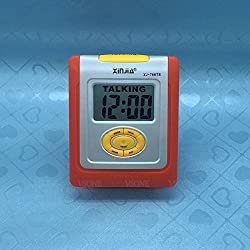 MAZIMARK--English Talking LCD Digital Alarm Clock for Blind or Low Vision Orange or Yellow