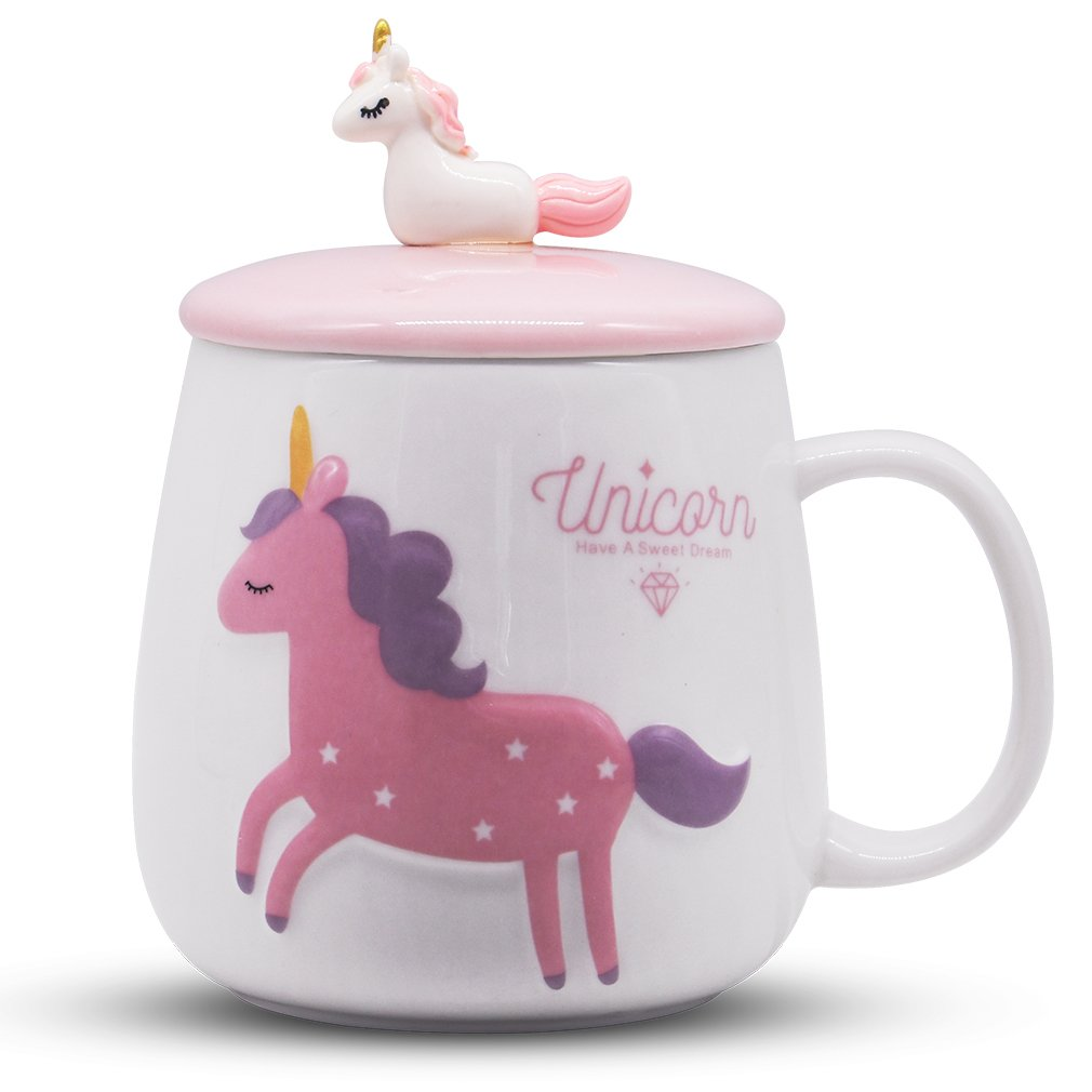 Angelice Home Cute Unicorn Cup with 3D Baby Unicorn on Lid, Novelty Coffee Mug Gift for Unicorn Lovers