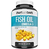 NURTURITION Purified Fish Oil 2000mg - with 800mg EPA and 600mg DHA - Omega 3 to Support an Active Lifestyle - Helps to Get Better Focus - Formulated to Support Your Blood and Heart Health
