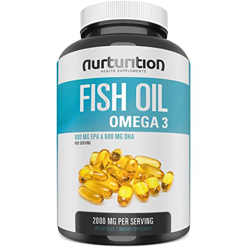 NURTURITION Purified Fish Oil 2000mg – with 800mg EPA and 600mg DHA – Omega 3 to Support an Active Lifestyle – Helps to Get Better Focus – Formulated to Support Your Blood and Heart Health Review