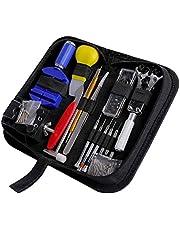 Kit Réparation Montre Outils Professionnel, CREMAX 147 Pièces Kit d'outil de Réparation de Montre en Métal pour Ajuster Bracelet et Changer Piles