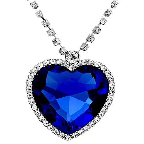 Large Blue Crystal Heart Necklace with Crystal Chain Jewelry Gift Silver Plated
