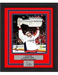 """Washington Capitals 2018 Stanley Cup Champions Alex Ovechkin Trophy Engraved Autograph 8"""" x 10"""" Framed and Matted Hockey Photo"""
