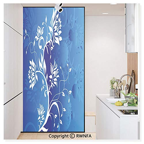 Non-Adhesive Privacy Window Film Door Sticker Swirled Flower Branches Over Violet Blue Classic Petals Background Pastel Beauty Artwork Glass Film 23.6 in. by 78.7in. (60cm by 200cm),White