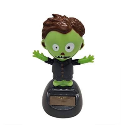 Eilane Halloween Solar Powered Toys, Animated Bobble Swinging Frankenstein Doll Shaking Hand Holiday Dancing Moving Monster Decoration for Car Dashboard Office Desk Home Decor Gift Natural : Baby