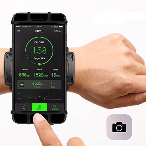 zchg - Soporte de muñeca para iPhone X 8/8Plus 7/7Plus 6S 6 5S Samsung Galaxy S8 Plus S7 Edge, Brazalete Giratorio de 180°, Compatible con Smartphones de 4 a 6 Pulgadas (Negro): Amazon.es: Hogar