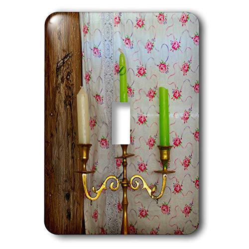 3dRose Alexis Photography - Objects Misc. - Metal triple candlestick, white and green candles. Vintage houseware - Light Switch Covers - single toggle switch (lsp_304538_1)