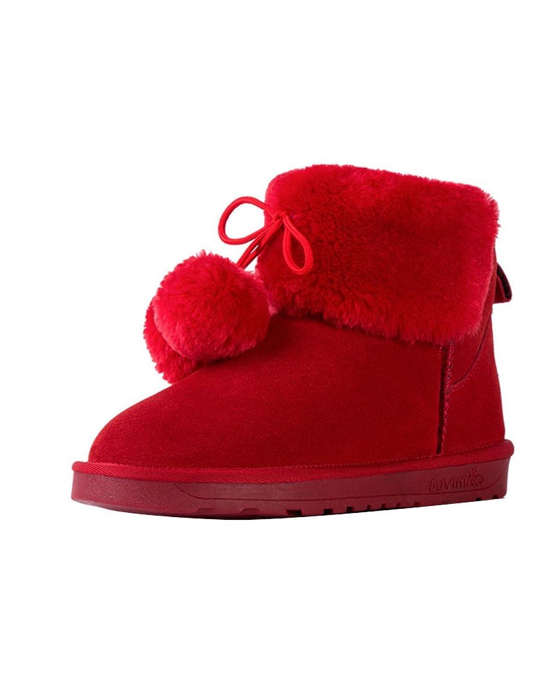 Ashlen Women's Warmest Cute Bow Tie Fuzzy Short Snow Boot