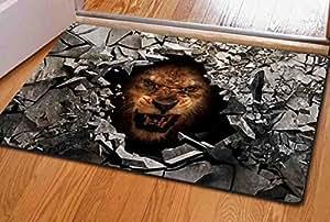 ouliu Angry animales impreso Natural fibras Felpudo Alfombrilla de Entrada alfombra interior/exterior/cuarto de baño Alfombrillas antideslizantes