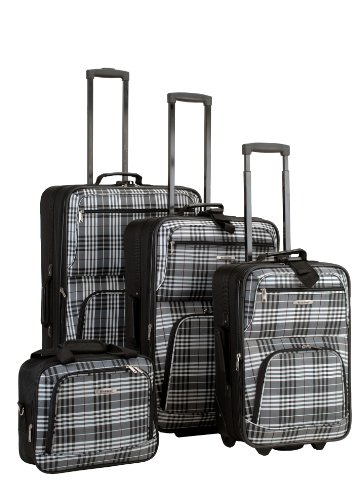 Plaid Sets Luggage (Rockland Luggage 4 Piece Luggage Set, Black Plaid, One Size)