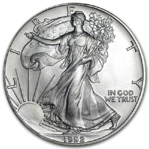 1992 - 1 Ounce American Silver Eagle Low Flat Rate Shipping .999 Fine Silver Dollar Uncirculated US - Coin Fine Us