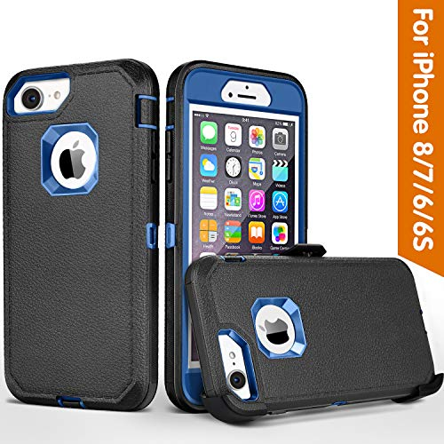 FOGEEK iPhone 8 case,iPhone 7 Case, iPhone 6s Case, Belt-Clip Protective Heavy Duty Kickstand Cover [Shockproof] Cover Compatible for iPhone 8/7/6/6s (NOT Plus) (Black and Blue)