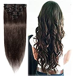 Clip in Hair Extensions 100% Remy Human Hair Dark Brown for Women Silky Straight Soft Hair Full Head Light 8pcs 18 Clips 85g- 24 Inch #2