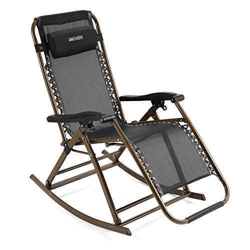 Ancheer Folding Rocking Chair Zero Gravity Rocker Reclining Chair with Adjustable Pillow for Patio Garden Lawn Home