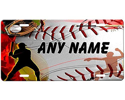 """Baseball Customized License Plate Frame Aluminum, Decorative Front Car Tag Sign with 4 Holes, Vanity Tag 6"""" X 12"""""""