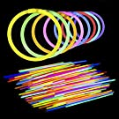 Lumistick AUTHENTIC 8 Inch Glow Sticks - Bendable Glow Sticks With Necklace and Bracelet Connectors - Glowstick Bundle Party Bracelets (100, Assorted)