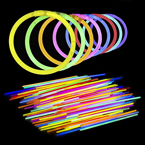 8 Inch Glow Sticks - Bendable Glow Sticks With Necklace and Bracelet Connectors - Glowstick Bundle Party Bracelets - 100 Pack (Assorted)