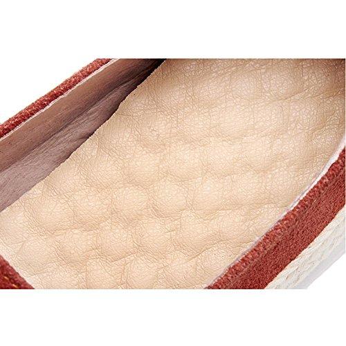 Femme A1418 red KJJDE Plateforme Baskets à Ville Plateformes à Chaussures WSXY Cuir Lacets aAU6w