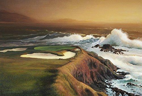 Pebble Beach Signature 7th Hole Golf Course Giclee Canvas Print Lawrence Dyer California Monterey Carmel Bay Pacific Ocean Landscape Art 24