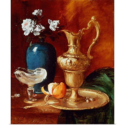 GREATBIGCANVAS Poster Print Entitled Still Life of a Gilt Ewer, vase of Flowers and a facon de Venise Bowl by Antoine Vollon 10