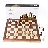 "LifeChamp Wooden Chess Set with 15"" Inch Large Folding Game Board and Storage"