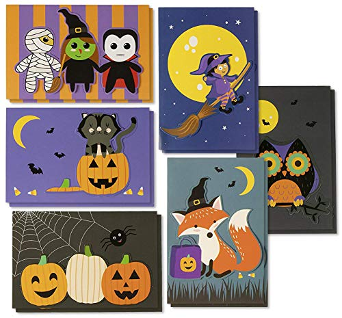 Halloween Greeting Cards - 24-Pack Handmade Halloween Notecards with 6 Designs for Trick-or-Treating, Party Favors, Includes Inside Greeting Messages and Orange Envelopes, 4 x 6 Inches
