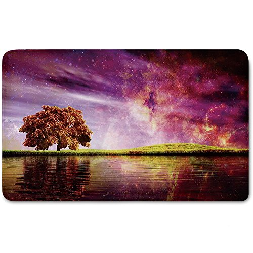 Memory Foam Bath Mat,Magical,Supernatural Sky Scenery with Mystical Northern Solar Theme and Star Clusters PhotoPlush Wanderlust Bathroom Decor Mat Rug Carpet with Anti-Slip Backing,Purple by iPrint
