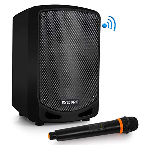 Portable Bluetooth PA Speaker System – Indoor Outdoor Karaoke Sound System w/Wireless Mic, Audio Recording, Rechargeable Battery, USB/SD Reader, Stand Mount Party, Crowd Control – Pyle