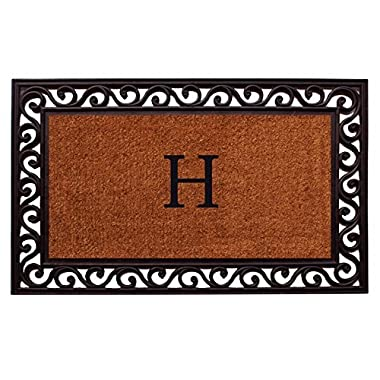 Home & More 100062236H Rembrandt Doormat, 22  x 36  x 1 , Monogrammed Letter H, Natural/Black
