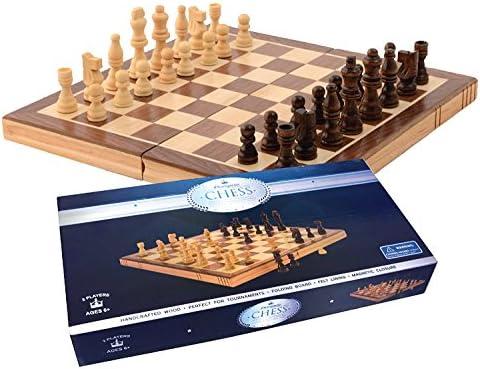 [해외]Chess Set - Wooden Folding 15x15 Magnetic Chess Game Board Set - Crafted Pieces and Chessmen Storage Slots / Chess Set - Wooden Folding 15x15 Magnetic Chess Game Board Set - Crafted Pieces and Chessmen Storage Slots