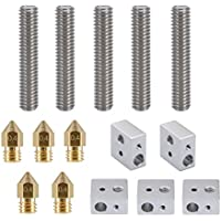 Aunifun 5Pcs 30MM Length Extruder 1.75mm Tube and 5Pcs 0.4mm Brass Extruder Nozzle Print Heads And 5Pcs Aluminum Heater Block Specialized for MK8 Makerbot Reprap 3D Printers