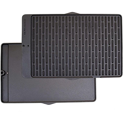 Gas Grill Dual Sided Cast Iron Coated Cooking Griddle 19-3/8'' x 12-1/2'' x 3/4'' by RCK Sales