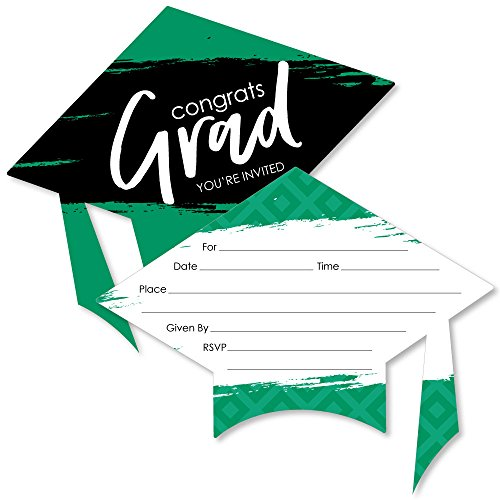 Green Grad - Best is Yet to Come - Shaped Fill-In Invitations - Green Graduation Party Invitation Cards with Envelopes - Set of 12