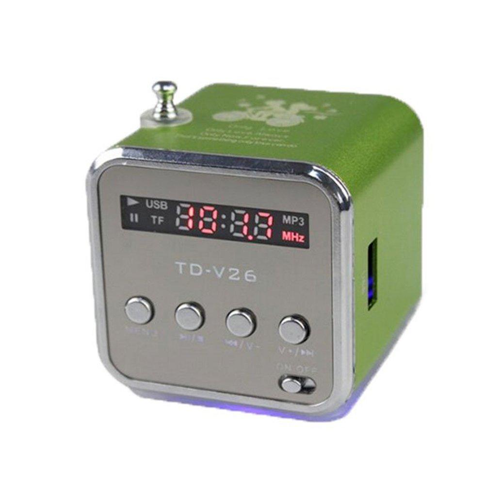CDKJ Mini Altavoz de Cute Ranura de Tarjetas Tipo con USB de Mode compacta de Radio FM con 87 –  100 MHz Compatible integrada Baterí a Transparente Calidad de Sonido Verde
