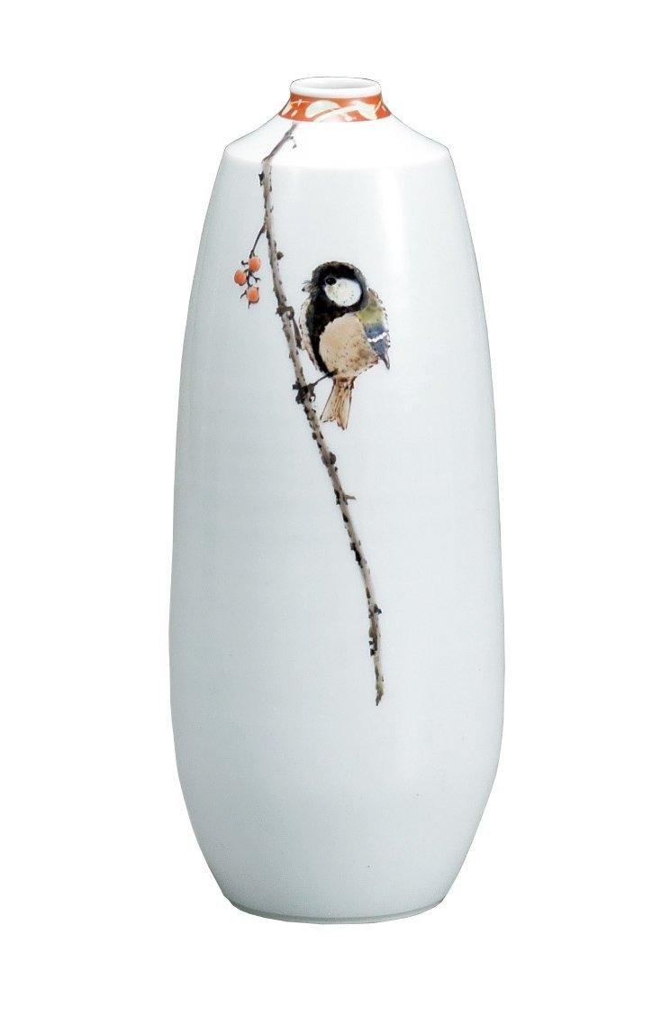 マルサン宮本 九谷焼 花器 7.5号花瓶 木の実に鳥 AP3-1031 B01HXQMNXA