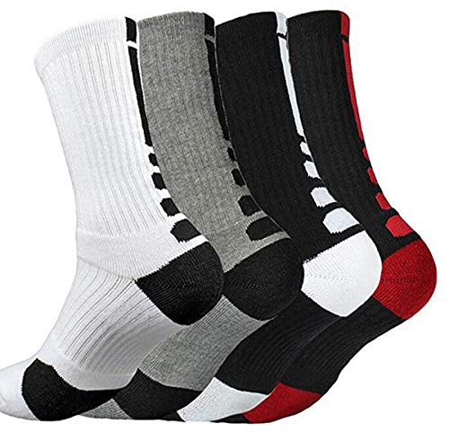 YQHMT 4 Pack Mens Dri-fit Cushion Elite Basketball Athletic Outdoor Compression Crew Sock,Men's Youth Socks (Elite Basketball Crew Socks)
