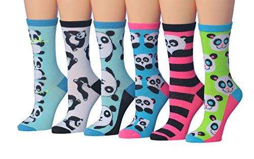 Tipi Toe Womens 6 Pairs Value Pack Panda Bear Animal Novelty Design Comfy Crew Socks   Sock Size 9 11  Fits Shoe Size 5 9  Wc53 A