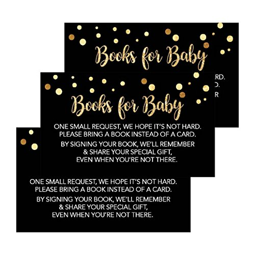 25 Black Books For Baby Request Insert Card For Boy or Girl Gold Baby Shower Invitations or invites, Cute Bring A Book Instead of A Card Theme For Gender Reveal Party Story Games, Business Card Sized ()