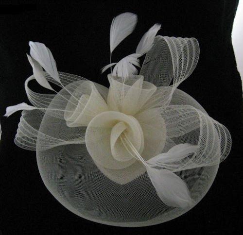 910653fb5741e Cream Net Fascinator Hat Veil - Wedding Ascot Races Hair Accessories Clip  by Caprilite Fashion