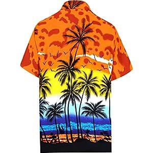 LA LEELA Men's Relaxed Short Sleeve Button Down Casual Hawaiian Shirt Printed D