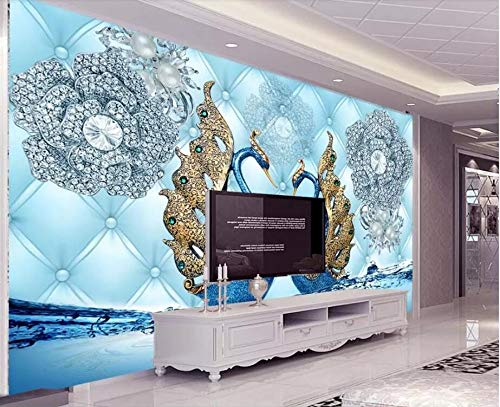 Wall Mural 3D Luxury Swan Diamond Flower Water Jewelry Modern Custom Photo Wallpaper Murals Wall Decor