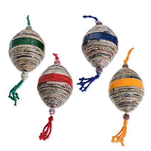 NOVICA Decorative Christmas Recycled Newspaper Hanging Holid